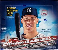 2017 Topps Chrome Baseball sealed jumbo box 12 packs of 13 MLB cards 5 auto