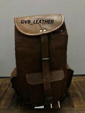 """18"""" Real Genuine Trusted Leather Backpack Bag Satchel Briefcase Laptop Vintage"""