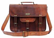 "18"" GVB Waxed Grain Briefcase Satchel Leather Laptop Messenger Bag Shoulder Men"