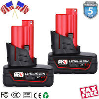 2x for Milwaukee M12 12 Volt XC 6.0 Extended Capacity Battery 48-11-2460 4.0AH
