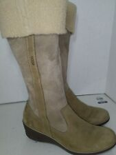 ECCO Brown Nubuck Tall Boots Side Zipper Wedge Womens Size 41