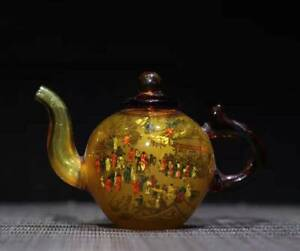 Chinese old Beijing Glass Handmade Exquisite Teapots statue