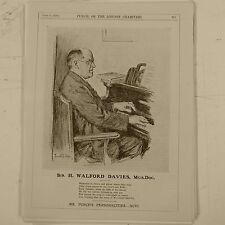 """7x10 """"Punch Cartoon 1929 Señor Punch `s personalidades Sir H Walford Davies"""