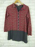 White stuff top/blouse women's grey pink print size 12 long sleeve