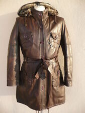 new WOMAN lamb GENUINE LEATHER COAT BROWN XXL 44 USA 14 UK 16 NEW