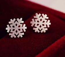 Fashion brushed snowflake Frozen 925 sterling silver stud earring gift box A3