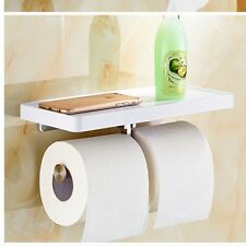 White Painting Wall Mount Bathroom Toilet Paper Holder Dual Tissue Bar Hanger