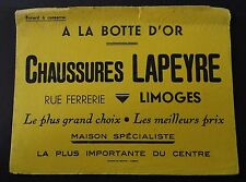 Buvard CHAUSSURES LAPEYRE A la botte d'or LIMOGES Blotter Löscher jaune