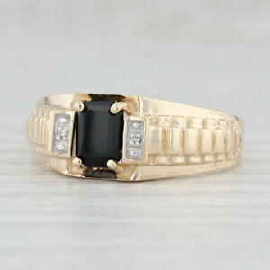 Onyx Diamond Ring 10k Yellow Gold Size 12 Men's Black Stone Solitaire