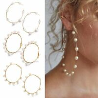 Big Circle Round Earrings Women Simulated Pearl Hoop Dangle Party Jewelry Gifts