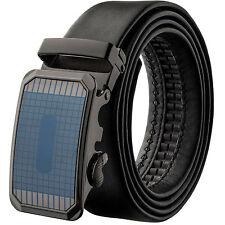 Veronz Men's Elegant Wide Black Leather Slide Belt Ratchet Belt Buckle 98B14