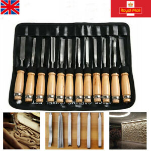 12Pcs Wood Carving Hand Chisel Tool Kit Set Wood working Professional Gouges