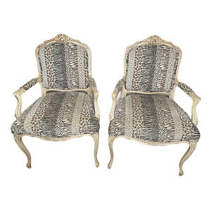 French Style  Animal Print  Upholstered Accent Chairs