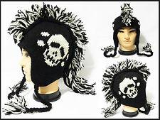 Mohawk skull logo Hat cap beanie Pilot handmade 100% Wool W/ Fleece lining!