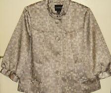 NWT Taupe & Gray Jacquard Brocade Jacket by George - 3/4 Sleeves Mandarin Collar