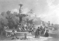 MADRID BUEN RETIRO PARK FOUNTAIN TURTLE ~ David Roberts 1856 Art Print Engraving