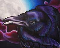 Art Picture Poster Photo Print 3FAL Halloween Bat /& Crow Moon