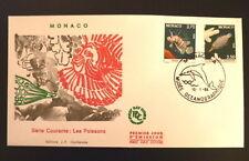 MONACO PREMIER JOUR FDC YVERT  1617+1619     LES POISSONS     3,70+2,50F    1988