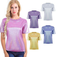 Women Comfy Metallic Shiny Casual T-Shirt Lady Summer Loose Tops Blouse Pullover