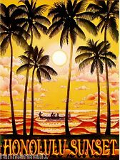 Hawaii Island Hawaiian Sunset Oahu Honolulu Vintage Travel Advertisement Poster