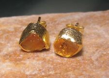 14K Gold plated brass natural/rough citrine stud earrings. Gift bag.