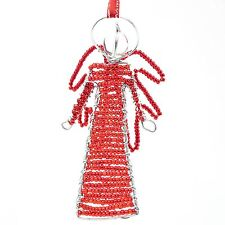 Red African Handmade Maasai Bead Wire Christmas Angel Ornament