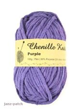 3 x 100g - Chenille Knitting Crochet Yarn Thick and Soft - Purple