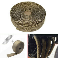 15M Exhaust 900℃ Insulation Glass Fiber Tape Wrap Thermal Strip W/ Fixed ties