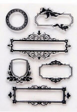 Clear Acrylic GREETINGS LABELS Frames Medallion Decoration 6 Stamps Set