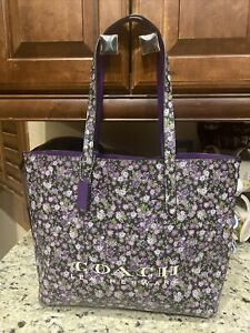 NWOT Coach 55181 floral Purple tote shoulder bag shopper