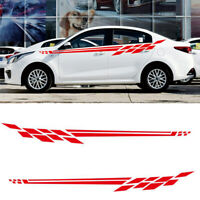 2x Red Car Racing Stripe Graphics Side Skirt Body Vinyl Decal Sticker Decor DIY