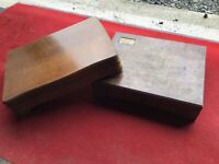 TWO VINTAGE WOODEN FITTED CANTEEN CUTLERY CASE - EMPTY - REPURPOSE OR REUSE