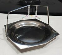 VINTAGE RETRO OLDE HALL STAINLESS STEEL HANDLED CAKE PLATE SERVING DISH