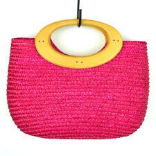 Womens Hot Pink Fuschia Wood Handle Purse Small Handbag Bag Woven Straw Clutch