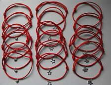 WHOLESALE 12 RED FRIENDSHIP BRACELETS, PARTY BAGS, CHOOSE YOUR CHARM, JOBLOT