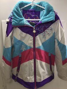 OBERMEYER I-Grow Girls Winter Ski Jacket Insulated Hooded Coat  size 6 EUC