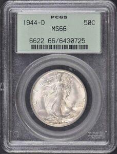 1944-D 50C Walking Liberty Half Dollar PCGS MS66 OGH