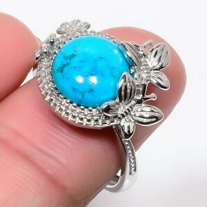 Egyptian Magnesite Turquoise 925 Sterling Silver Jewelry Ring s.Ad T2790