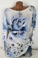 52 54 56 Oversize Rosen Sterne Design Batik Shirt Tunika Glitzer Nieten XXXL