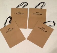 Lot of 4 COACH NEW YORK Brown Paper Small Shopping Bags ~ Great Gift Bags 10 x 8
