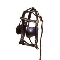 Tough-1 Leather Replacement Driving Harness Bridle (MINI) Miniature Black