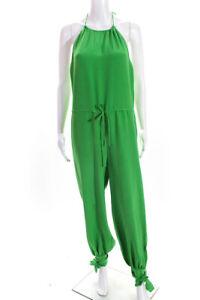 Ralph Lauren Blue Label Womens Silk Solid Halter Slim Leg Jumpsuit Green Size 4