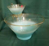 VTG Blendo Glass Blue Chip and Dip Serving Set Mid Century Fruit Bowl . NICE