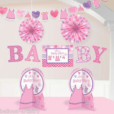 10 Piece Pink Girl's New Baby Shower With Love Party Room Decorating Kit