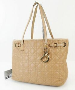 Auth CHRISTIAN DIOR Panarea Beige Quilted Coated Canvas Tote Hand Bag #39333