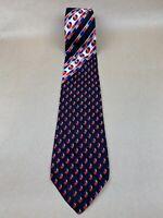 "Harry De Vlaminck Bruxelles 100% Silk Tie 'erredieci' Made In Italy 58"" x 3.75"""