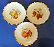 3 Hutschenreuther Fruit Plates - White With Gold Rims - Selb Bavaria Germany