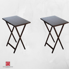 TV Tray Table Dinner 2 PACK Laptop Work Stand Meal Tables Set Folding Brown New
