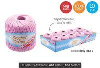 10 x Super Soft Crochet Cotton Ball 50g Wool Yarn Baby Pink No.2 NEW (WIN-073)