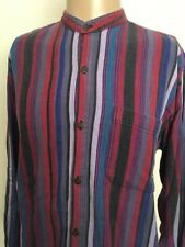 VTG 90s ~ ARTESANIA NEW YORK STRIPED L/S BUTTON UP SHIRT Banded Collar ~ M Indie